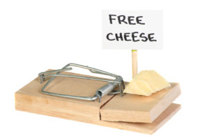 Free cheeese in mousetrap